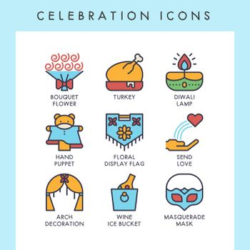 Celebration icons for web, app, website, user interface, card, etc.