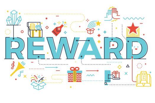 Reward word lettering illustration
