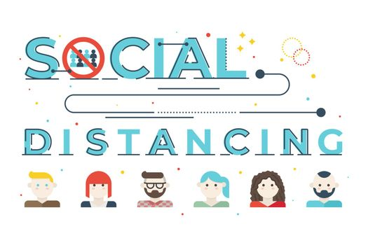 Social distancing word lettering illustration with icons for web banner, flyer, landing page, presentation, book cover, article, etc.