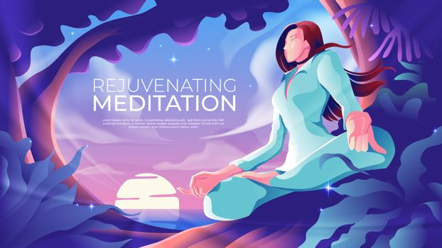 An illustration of a woman is meditating aside the beach with sunrising at the horizon.