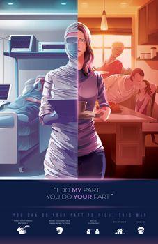 Risk of medical workers awareness illustration