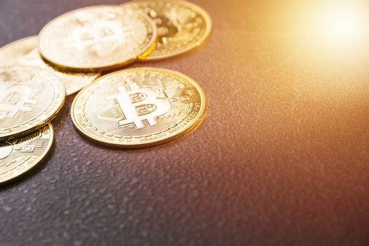 Cryptocurrency golden Bitcoin. Technology cryptocurrency and fin