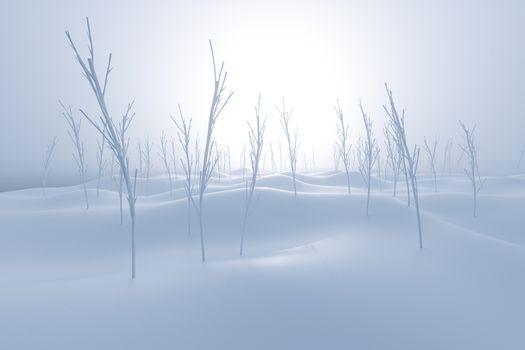 Bare saplings and barren hillsides,3d rendering.