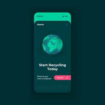 Waste disposal smartphone interface vector template