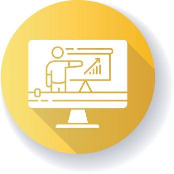 Tutorial video yellow flat design long shadow glyph icon