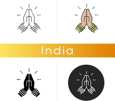 Namaste icon. Hindu greeting. Hands pressed together. Respectful salutation. Anjali Mudra. Praying hands. Indian religion. Linear black and RGB color styles. Isolated vector illustrations