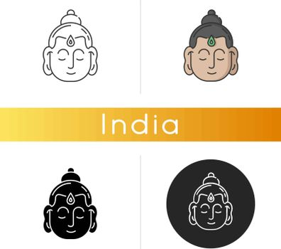 Gautama Buddha icon. Indian philosopher. Religious leader. Founder of Buddhism. Meditator and spiritual teacher. Linear black and RGB color styles. Isolated vector illustrations