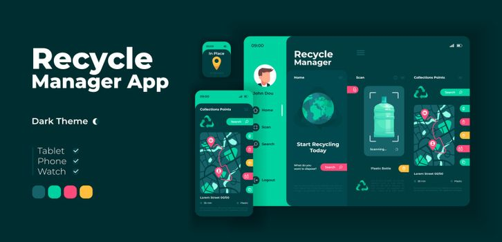 Waste disposal manager app screen vector adaptive design template