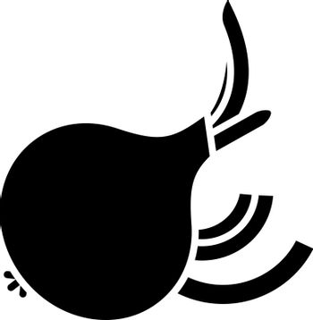 Onion black glyph icon. Fresh ripe vegetable with cut slices. Whole veggie for vitality and nourishment. Raw bulb for cooking. Silhouette symbol on white space. Vector isolated illustration