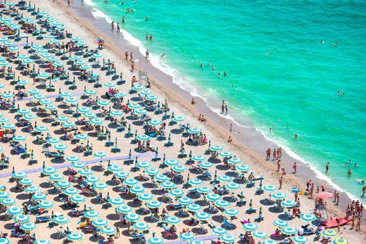 Beautiful view of full beach in Amalfi Coast, with the Gulf of Salerno, Campania