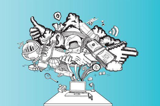 Computer brainstorm illustration