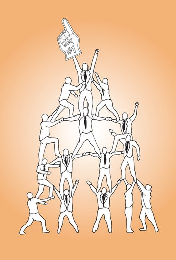 Teamwork concept illustration on orange background