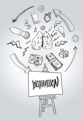 Inspiration message with illustrations