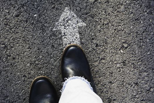 Shoes standing at the crossroad and get to decision which way to