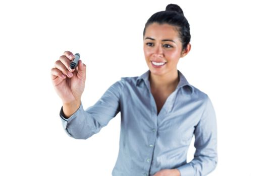 Woman about to draw with a marker