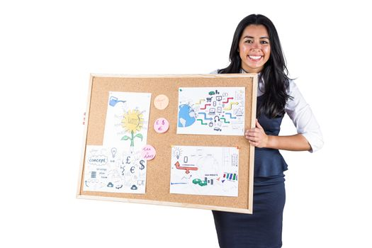 Smiling woman holding a noticeboard