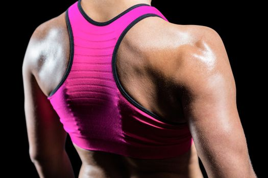 Close up of muscular woman