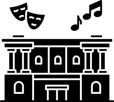 Cultural center black glyph icon