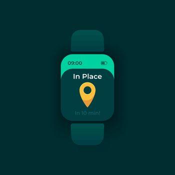 Arrival notice smartwatch interface vector template