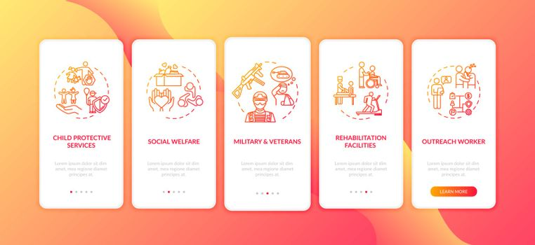 Public welfare onboarding mobile app page screen with concepts