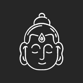 Gautama Buddha chalk white icon on black background. Indian philosopher. Religious leader of Ancient India. Founder of Buddhism religion. Meditator and spiritual teacher. Isolated vector chalkboard