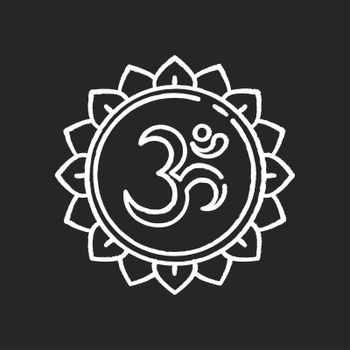 Om chalk white icon on black background. Aum visual representation. Sacred syllable. Sound of universe. Spiritual symbol in Hinduism. Indian religion. Divine energy. Isolated vector chalkboard