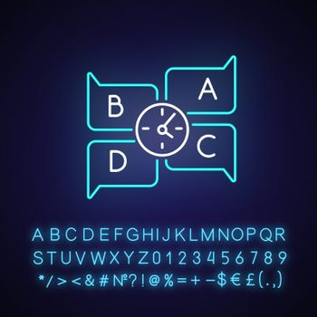 Educational game neon light icon