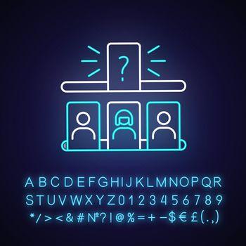 Storytelling game neon light icon