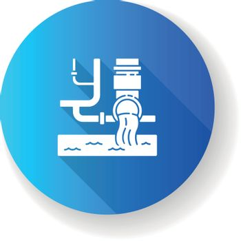 Water supply blue flat design long shadow glyph icon