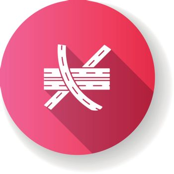 Multi level junction pink flat design long shadow glyph icon