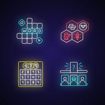 Recreational games neon light icons set