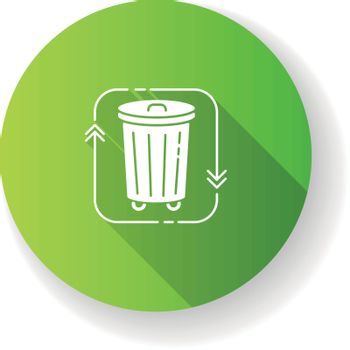 Waste disposal green flat design long shadow glyph icon