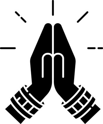 Namaste black glyph icon. Hindu greeting. Hands pressed together. Respectful salutation. Anjali Mudra. Praying hands. Asian gesture. Silhouette symbol on white space. Vector isolated illustration