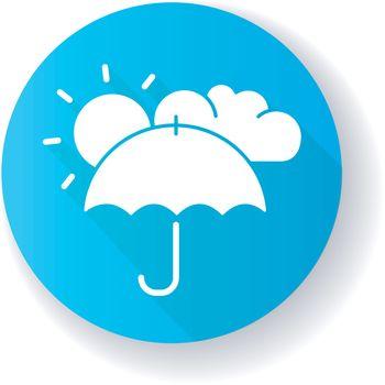 Meteorology blue flat design long shadow glyph icon