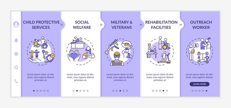 Social welfare onboarding vector template