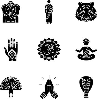 Indian spiritual symbols black glyph icons set on white space. Om sound. Yoga practitioner. Namaste. Lord Ganesha. Henna body art. Traditional sari.Silhouette symbols. Vector isolated illustration