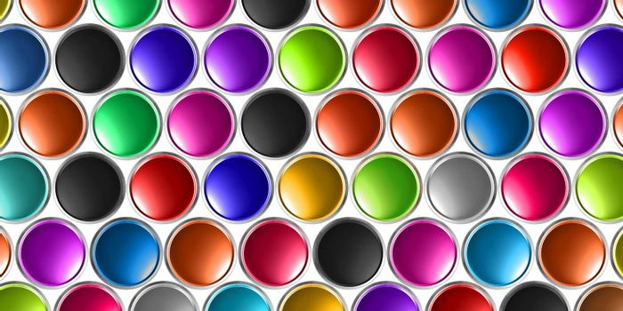 3D illustratio background of multicolored oil cans scattered on a white background.