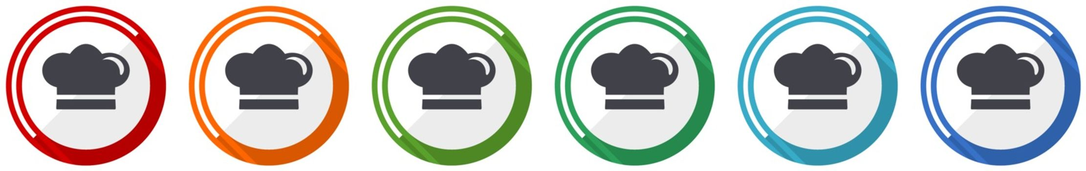 Cook icon set, flat design vector illustration in 6 colors options for webdesign and mobile applications