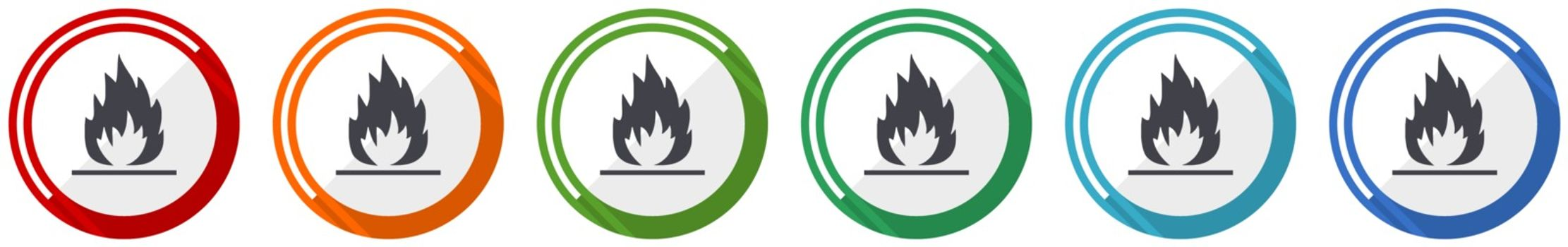 Flame icon set, flat design vector illustration in 6 colors options for webdesign and mobile applications