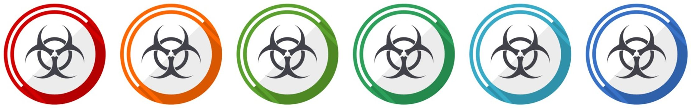 Biohazard icon set, flat design vector illustration in 6 colors options for webdesign and mobile applications