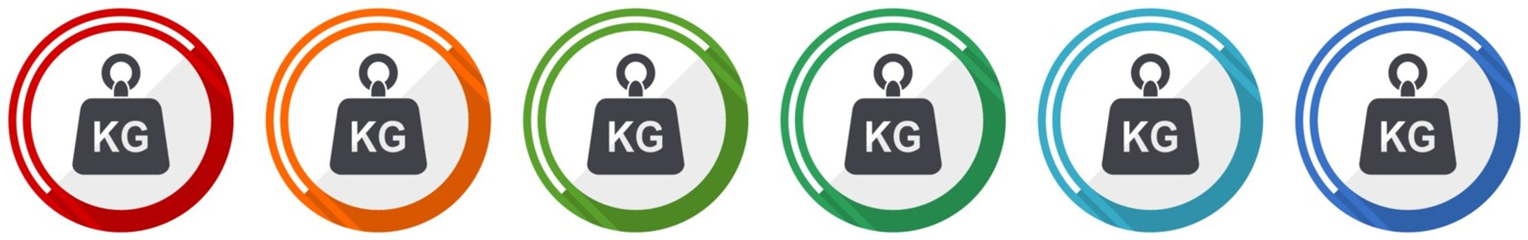 Weight, kg, kilogram icon set, flat design vector illustration in 6 colors options for webdesign and mobile applications