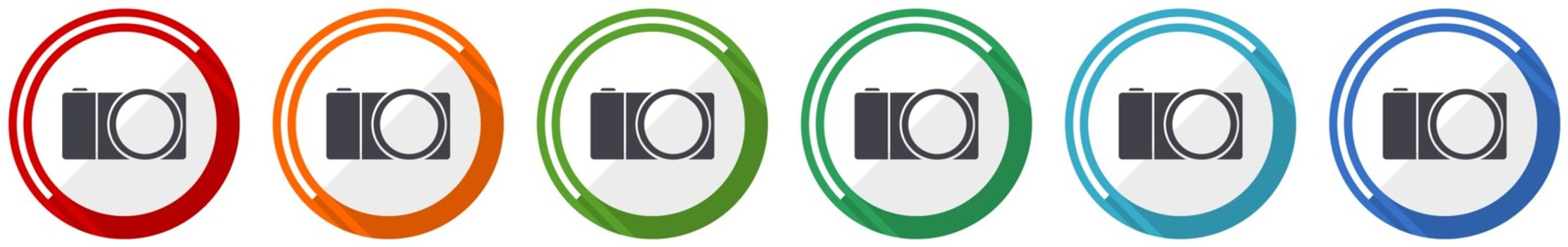 Mirrorless camera icon set, photography flat design vector illustration in 6 colors options for webdesign and mobile applications