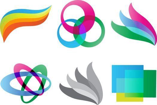 Set of Geometric colored shaped logo isolated vector illustration