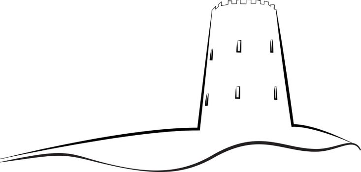 Tower outline logo vector illustration on a white background isolated