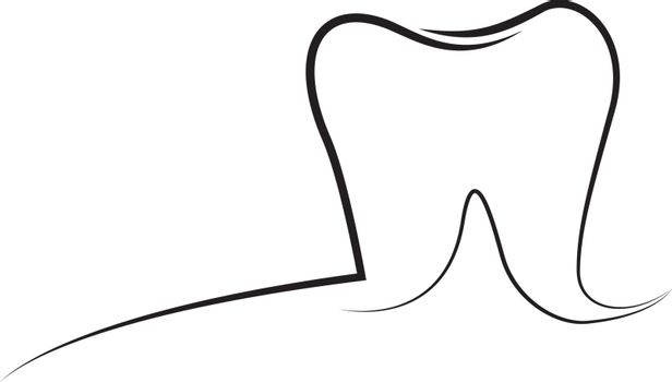 Tooth outline logo vector illustration isolated on a white backgroundTooth outline logo vector illustration isolated on a white background