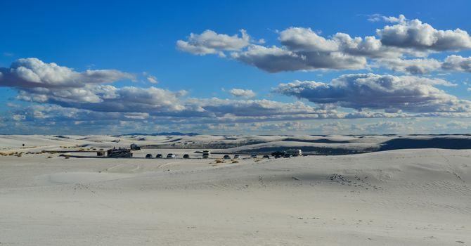 USA, NEW MEXICO - NOVEMBER 23, 2019:  Desert landscape of gypsum