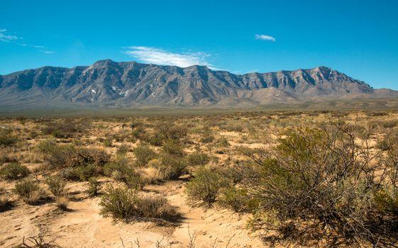 New Mexico desert landscape, high mountains