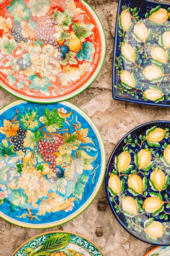 Ceramic plates decorated and painted by hand
