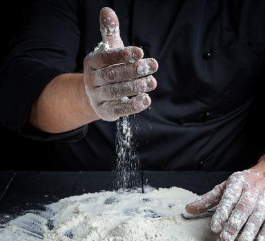 cook prepare to knead the dough