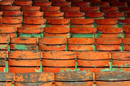 Old wooden stadium seating